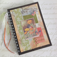 NOTEBOOK, journal, sketchbook , A5  ' Marigold Fairy  ...Ready to ship......