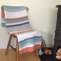 BLANKET, throw .Cot -bed, sofa .' To the Sea ' . Stripes. Crochet.