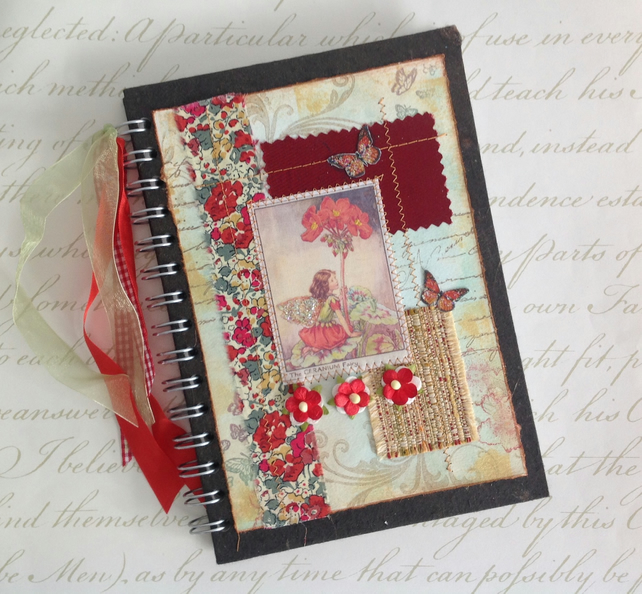 NOTEBOOK, journal, sketchbook , A5  ' Geranium Fairy  ...Ready to ship