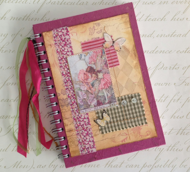 NOTEBOOK, journal, sketchbook , A5  ' Sweet Pea Fairy ' ...Ready to ship......