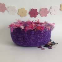 SALE ......FELTED 'FUSSPOT'  bowl , desk tidy. ' Passion  '