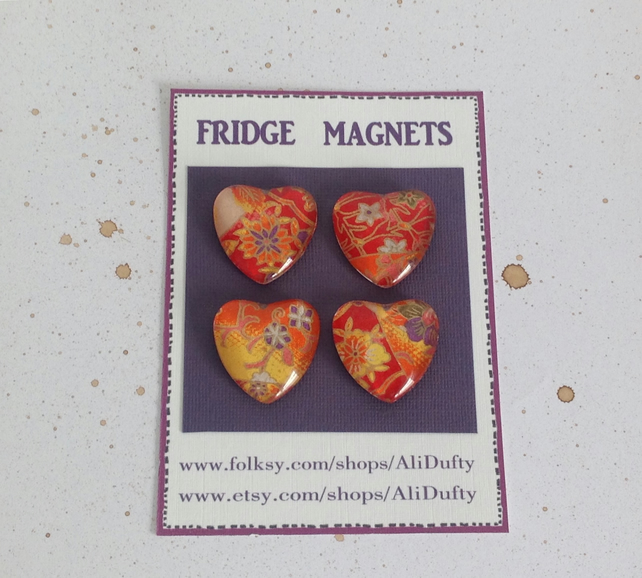 FRIDGE MAGNETS ( set of 4 ) Lovehearts , reds. Yuzen . Japanese design .
