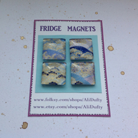 FRIDGE MAGNETS ( set of 4 ) Yuzen , chiyogami . Japanese design .
