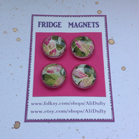 FRIDGE MAGNETS ( set of 4 )  foliage . Pink. green . Yuzen . Japanese design.