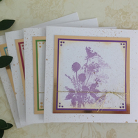 GREETINGS cards, notecards (  4 in diff. shades ) Blank . Wildflowers.