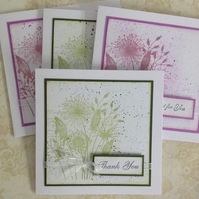 GREETINGS cards, notecards , pack of 4 ( 2 shades ) . 'Meadow'