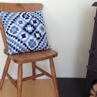 CUSHION  ( inc. insert).'Delft Blues'  . Tiles . Patchwork.  Crochet.