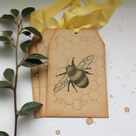 GIFT TAGS. Luggage  tag style.( set of 3) Bee. Honeycomb.