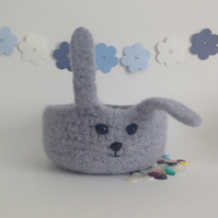 FELTED 'FUSSPOT' BOWL , desk tidy. ' Sky ' . Rabbit . Bunny .
