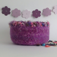 FELTED 'FUSSPOT'  bowl , desk tidy. ' Wild Thistle  ' (with decorative edging)