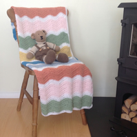 COT , PRAM blanket. Ripples. Crocheted .' Beach Huts'...ready to ship .....