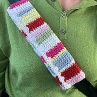 CAR SEATBELT  sleeve ( padded ) , cover.  Stripes . Cosy alpaca blend.
