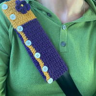 CAR SEATBELT  sleeve ( padded ) , cover. Purple, mustard.Cosy alpaca blend.