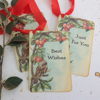 GIFT TAGS, vintage -style. ' The Cherry Tree '  ( set of 3)  '..ready to ship...