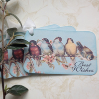GIFT TAGS .Vintage -style ( set of 3 ) .'Spring Bough ' . Birds. Blossom.