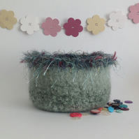 FELTED 'FUSSPOT'  bowl , desk tidy. ' Wild Thyme  ' (with decorative edging)