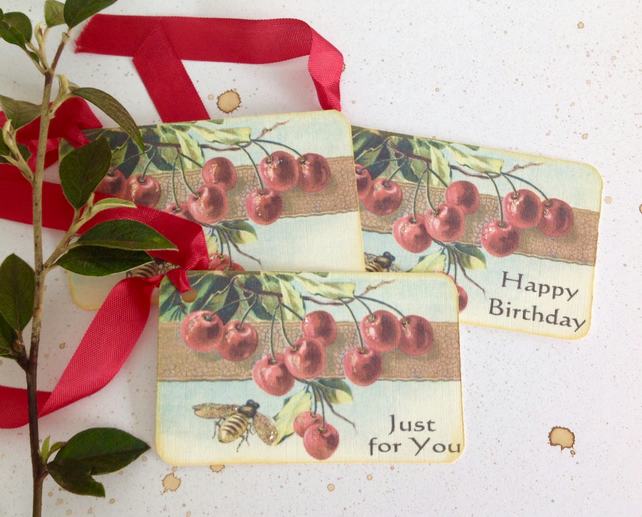 GIFT TAGS .Vintage -style  ' Summertime '( set of 3) ' .ready to ship...