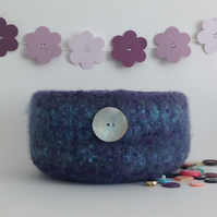 FELTED 'FUSSPOT'  BOWL , tray , desk tidy . ' Moonlit  ' (with MOP button).