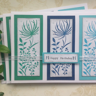 GREETINGS cards ,(pack of 3 )' Meadow '. .ready to ship....