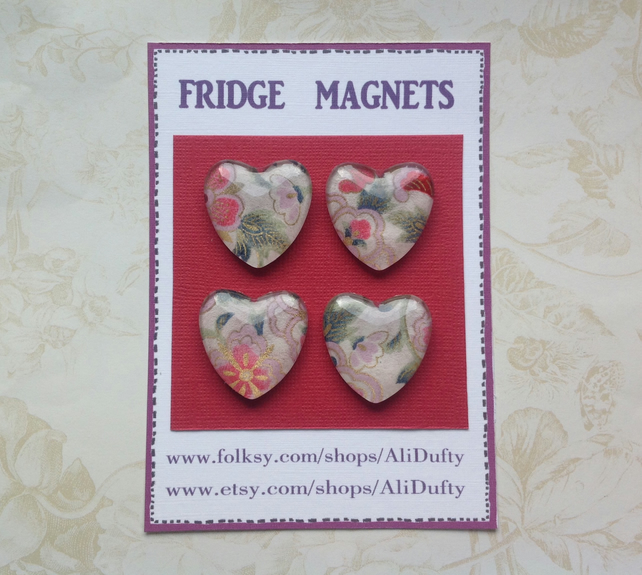 FRIDGE MAGNETS ( set of 4 ) Hearts . Pink . Yuzen . Japanese design .