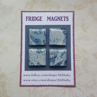 FRIDGE MAGNETS ( set of 4 ) Yuzen . Screenprinted .Japanese design .