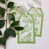 GIFT TAGS.  ( set of 3) 'Ferns '..ready to ship...