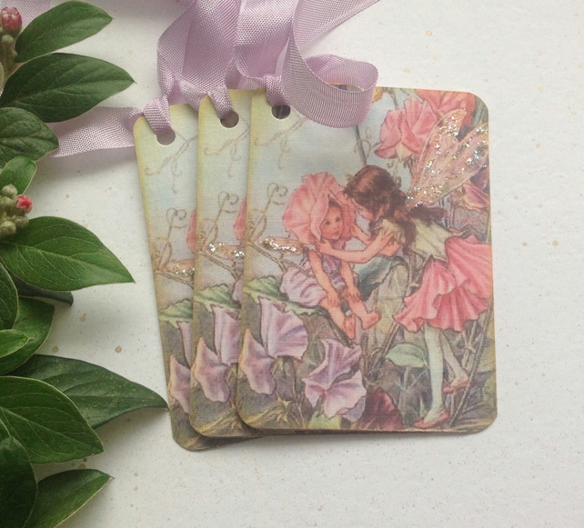GIFT TAGS ( set of 3 ) vintage style .Flower Fairies ' Sweet Pea '