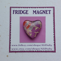 FRIDGE MAGNET .  Heart . Purple, pink  . Yuzen . Japanese design .
