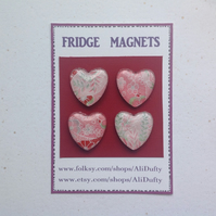 FRIDGE MAGNETS ( set of 4 ) Hearts . Pink . Valentine . Japanese design .