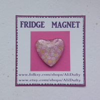FRIDGE MAGNET .  Heart .Pink  with white flowers . Yuzen . Japanese design .