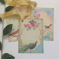 GIFT TAGS, vintage -style. ' Birds and Roses '  ( set of 3)  '..ready to ship...