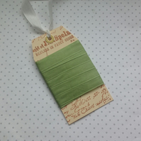 VINTAGE style  ribbon  ( silky seam binding) ' Spring Green' .4yds  ....