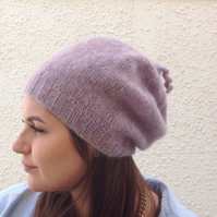 SLOUCH BEANIE hat . Luxurious baby alpaca blend . ' Purple Haze'