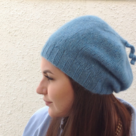 SLOUCH BEANIE . Luxurious baby alpaca , merino blend . Various colours.