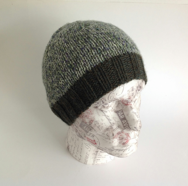 UNISEX regular beanie hat . Wool , Alpaca . Knitted.' Pine Ridge'.