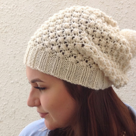 SLOUCH BEANIE . Wool blend . Ladies hat . ' Devon Cream ' . Bobble hat .