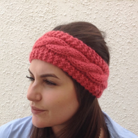 ALPACA blend earwarmers. Headband ' Coral Crush'. Super soft....ready to ship..