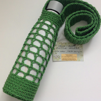 BOTTLE  CARRIER ,drink holder .Cross-body  .Cotton blend .Made to order.