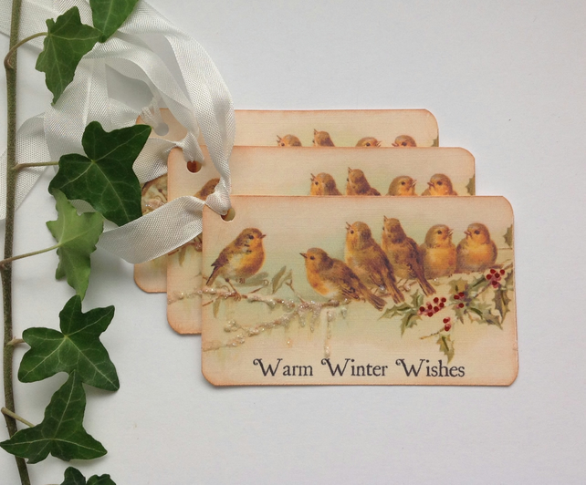 GIFT TAGS ( set of 3) ' Robins '.  Winter . Christmas . Vintage-style.