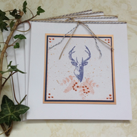 GREETINGS CARDS.( pack of 4) . Christmas.Winter . Autumn. Stag . Deer.  Nature.