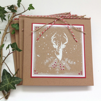 GREETINGS CARDS.( pack of 4) .Christmas .Winter . Autumn . Stag . Deer. Nature.