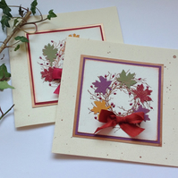 GREETINGS CARDS   ( pack of 2  , blank ) ' Autumn Wreath'