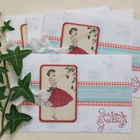 CHRISTMAS CARDS, pack of 4 , ' A  Retro Christmas' ....ready to ship....