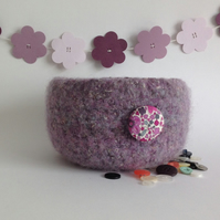 FELTED 'FUSSPOT'  BOWL  . ' Wild Orchid '  ( with Liberty fabric button)