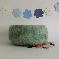 FELTED 'FUSSPOT'  BOWL , desk tidy .' Moss' ( a green blend ) .. ready to ship..