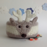 FELTED 'FUSSPOT' bowl. Desk tidy. Deer. Fawn ' Prince'.....ready to ship..