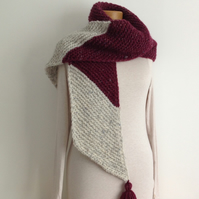 UNISEX SCARF. Merino wool . '  Westcountry ' .Colour block. Purple. Grey.