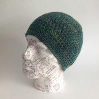 UNISEX regular beanie hat . Wool , Alpaca . Crochet .' Pine Forest '. Green.