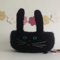 FELTED 'FUSSPOT' BOWL, tray  . ' Liquorice ' . Rabbit, bunny ...ready to ship ..