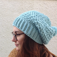 SLOUCH HAT  with pom-pom . Wool blend .' Aqua Pearl'.. Ladies Med.